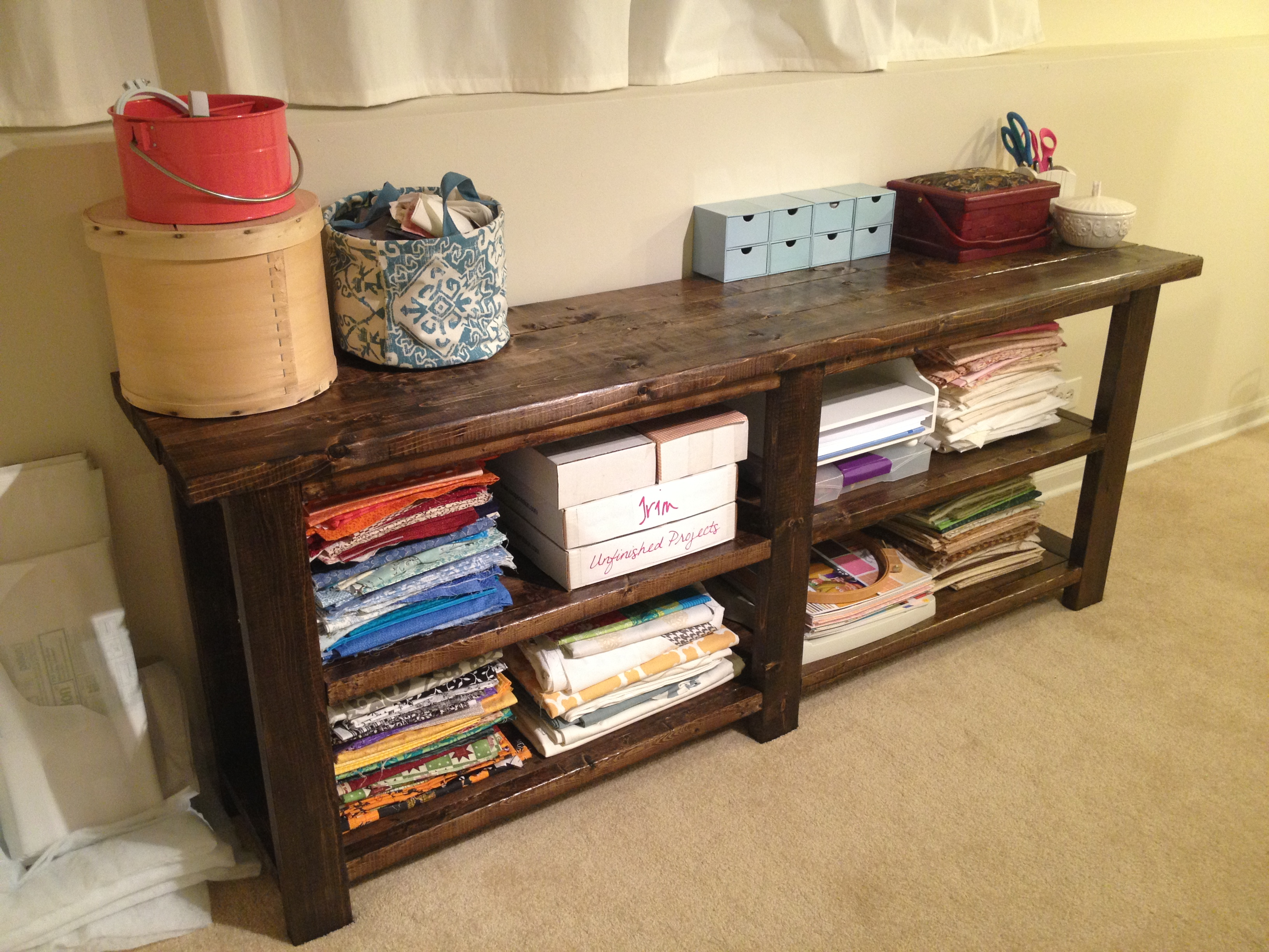 Ana white rustic console table diy projects rustic console table geotapseo Choice Image