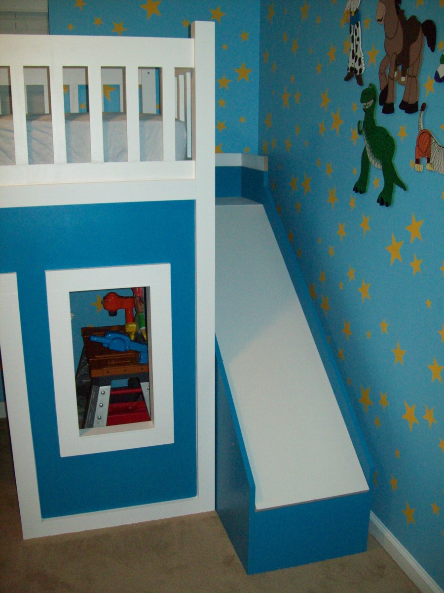 Bunk beds with slide and stairs - Playhouse Loft Bed With Stairs And Slide