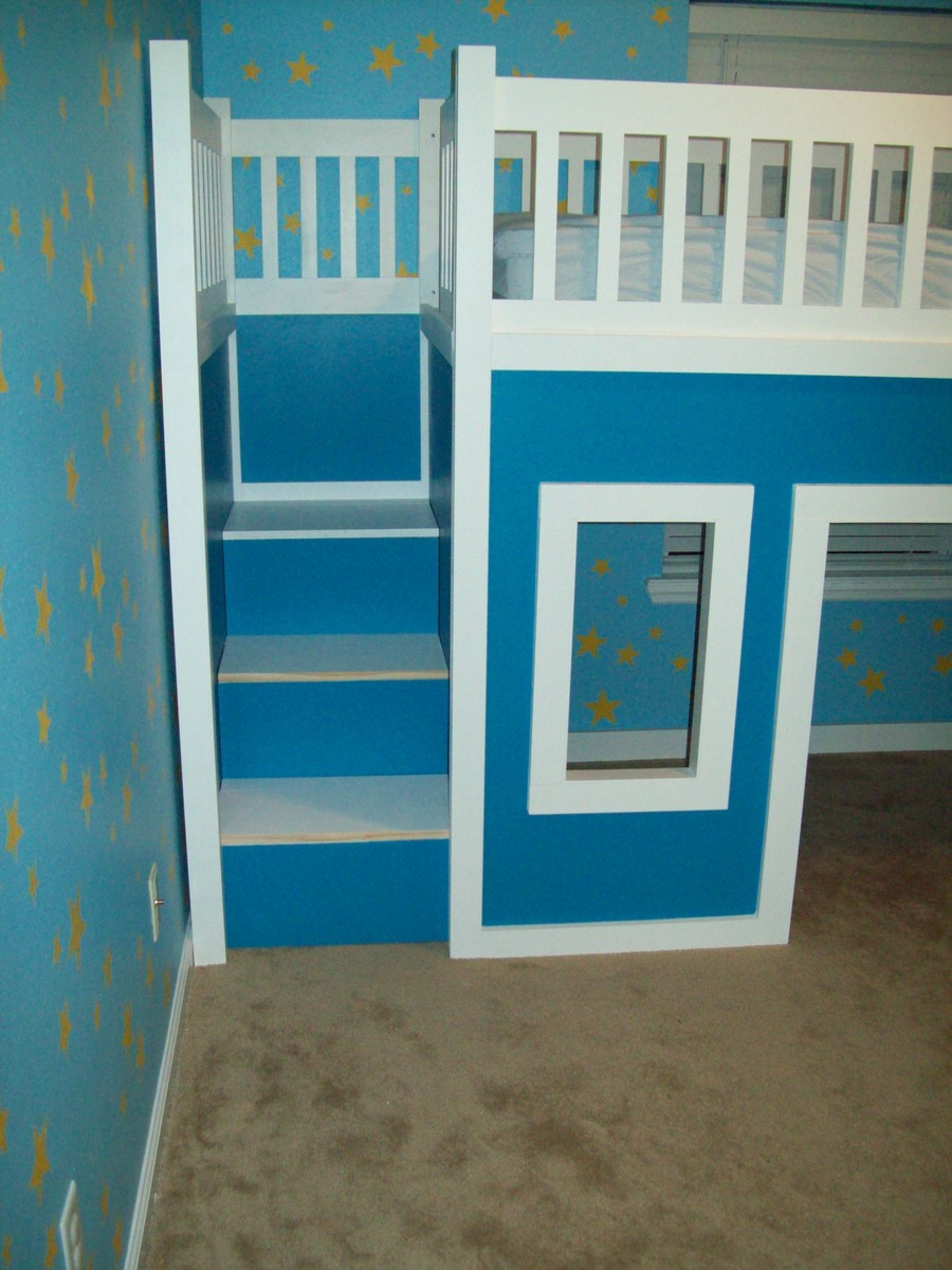 Kids loft bed with slide plans - Playhouse Loft Bed With Stairs And Slide