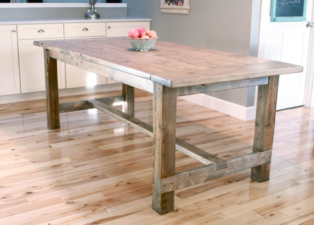 Ana white farmhouse table updated pocket hole plans for Farmhouse table plans with x legs