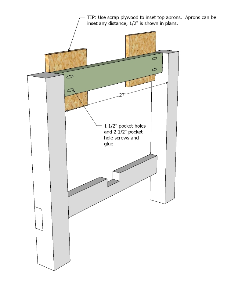 Farmhouse Table - Updated Pocket Hole Plans | Ana White on