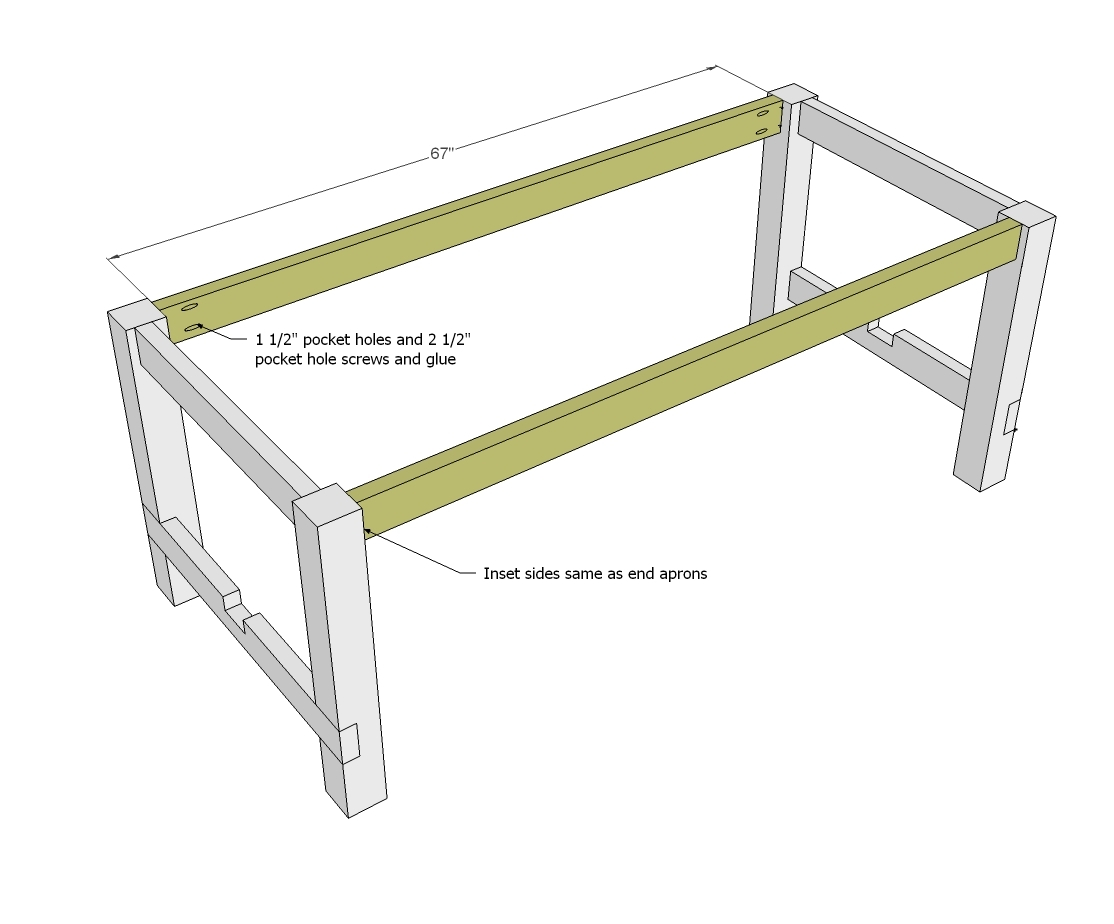 Ana white farmhouse table updated pocket hole plans for Dining table frame design