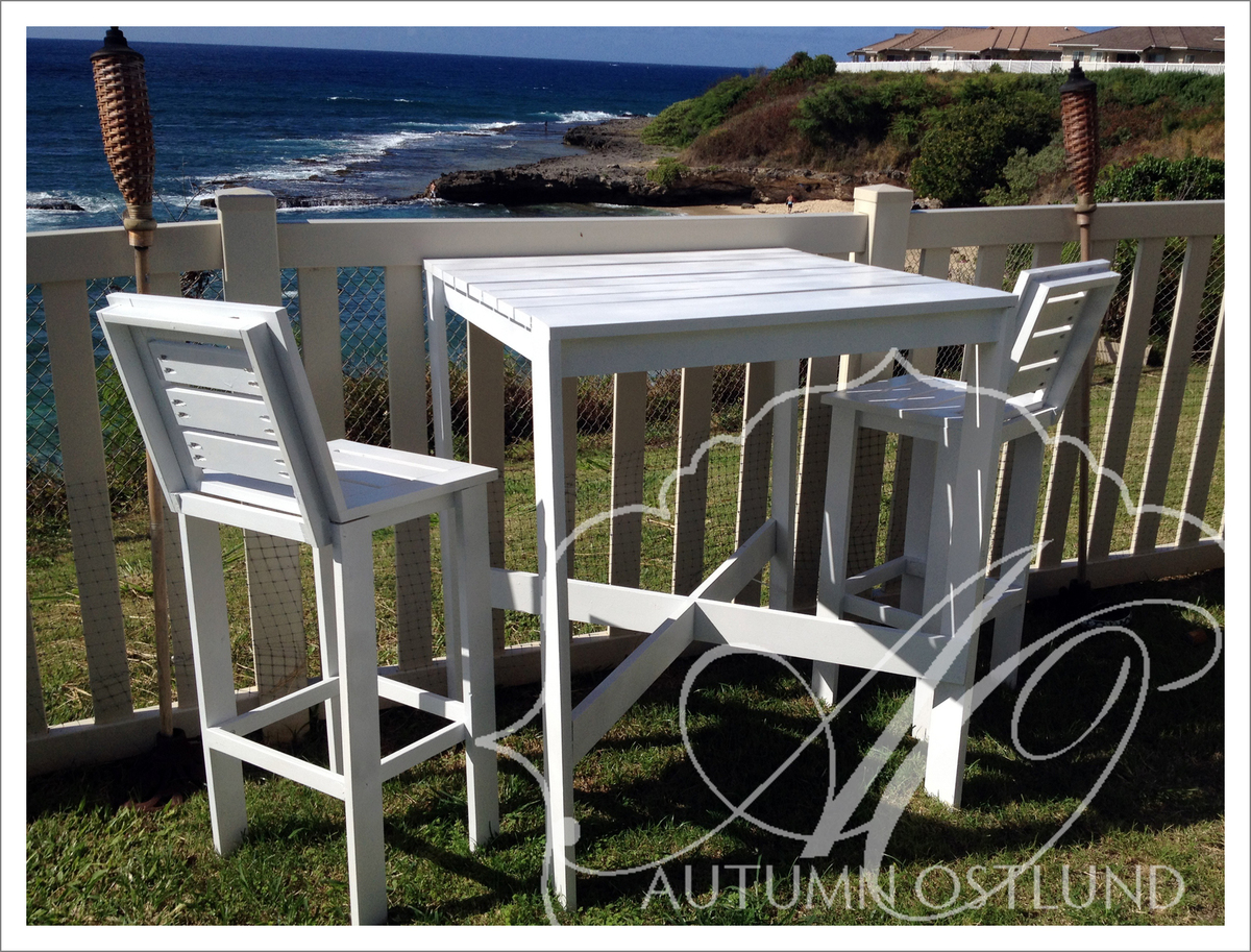 Picture of: Outdoor Bistro Table And Tall Backed Stools Ana White