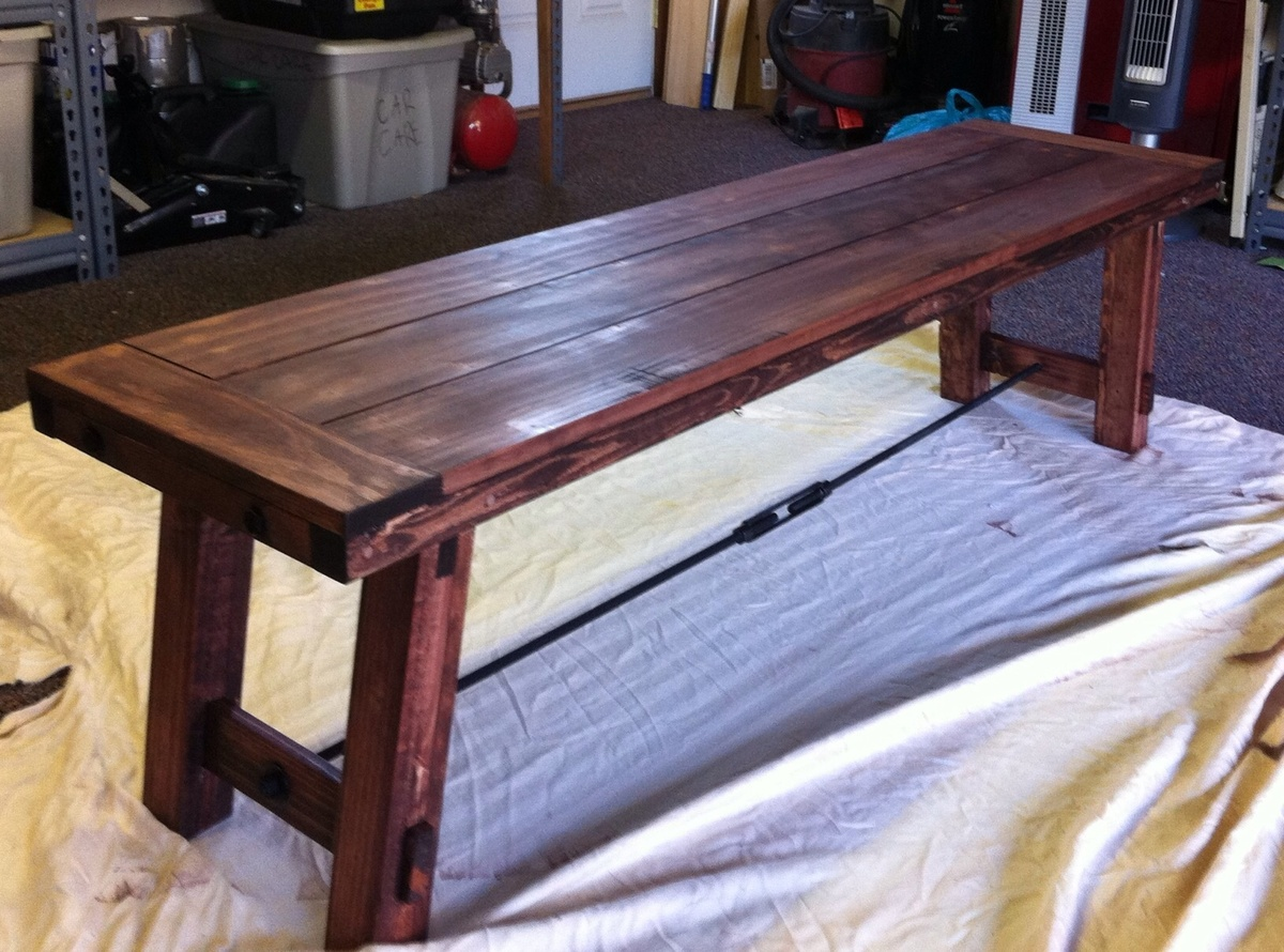 Amazing photo of Ana White Benchright farmhouse bench DIY Projects with #987033 color and 1632x1210 pixels
