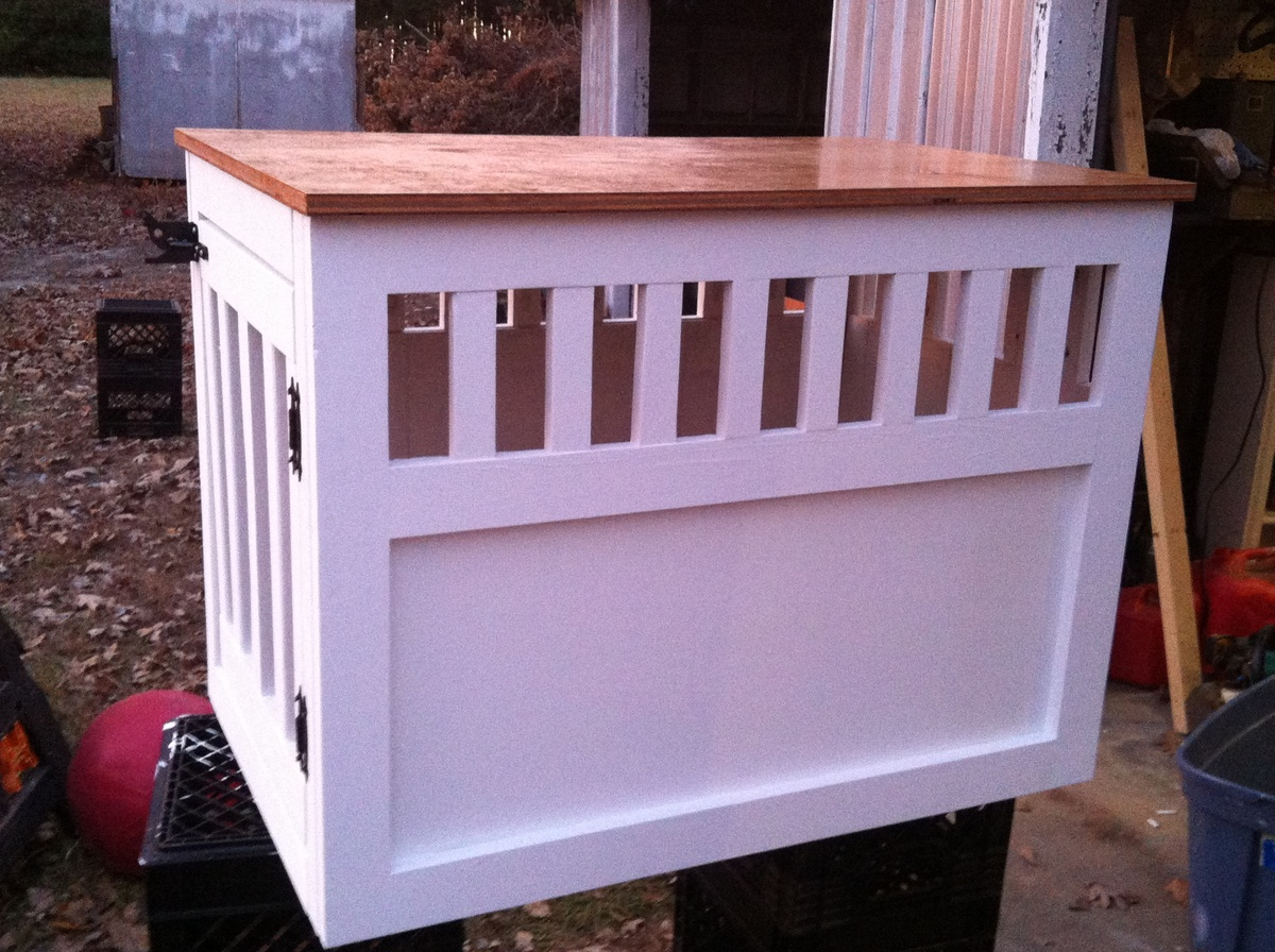 Indoor Dog Kennel Furniture moreover How To Build Dog Crate End Table ...