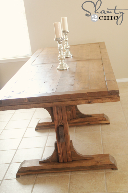 Ana white triple pedestal farmhouse table diy projects Diy farmhouse table