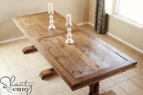 triple pedestal farmhouse table medium wood stain