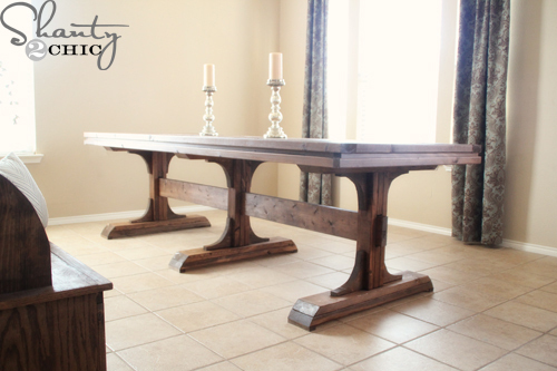 Ana white triple pedestal farmhouse table diy projects for Farmhouse table plans with x legs