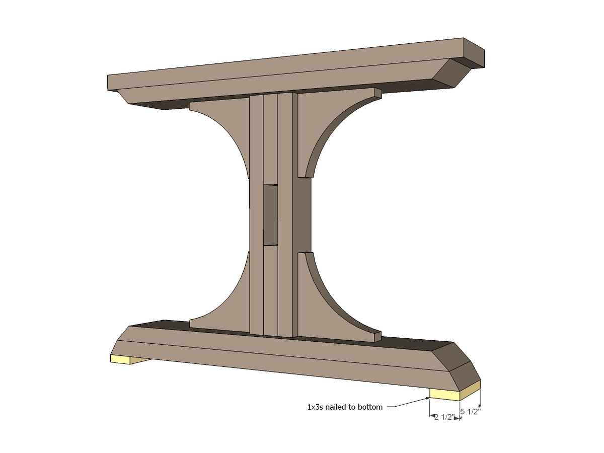 Ana white triple pedestal farmhouse table diy projects Pedestal farmhouse table plans