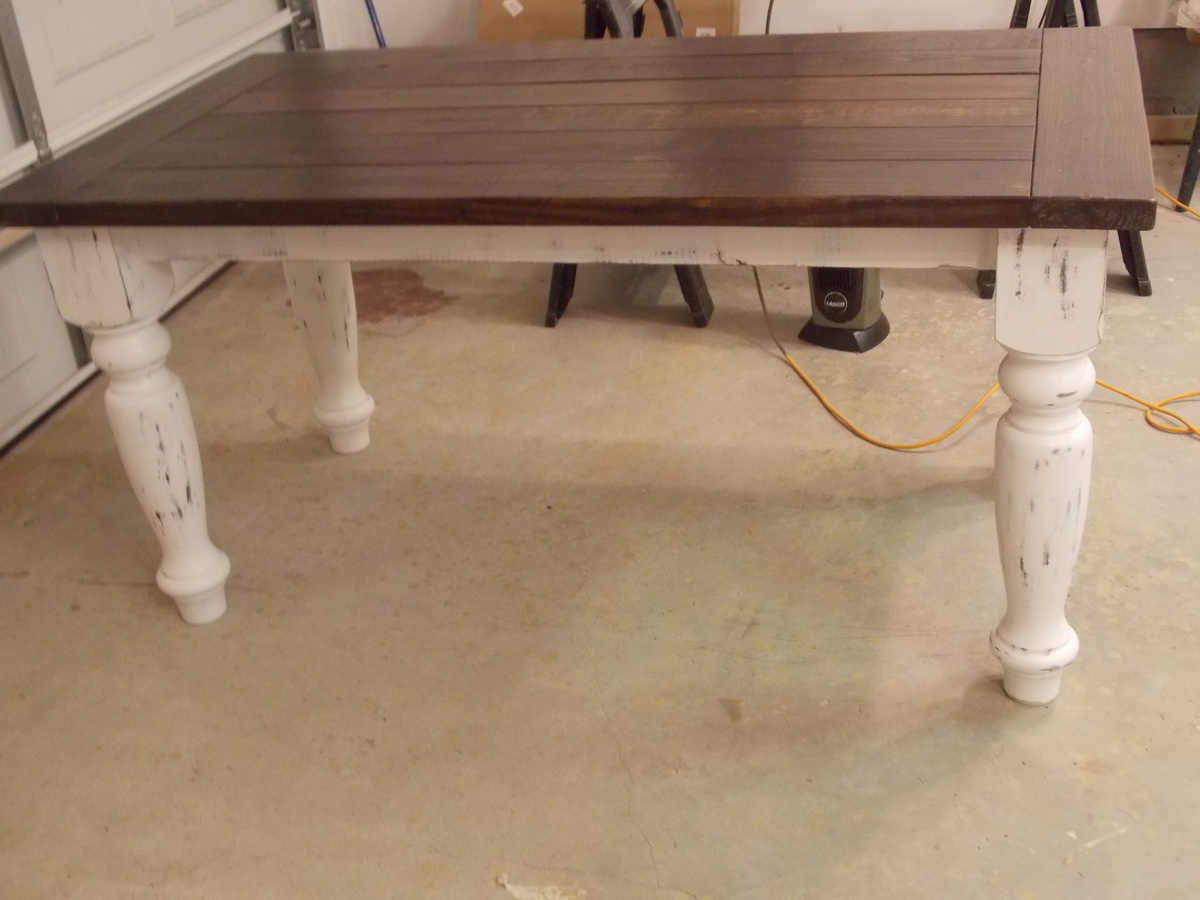 Ana white turned leg farmhouse table diy projects turned leg farmhouse table watchthetrailerfo