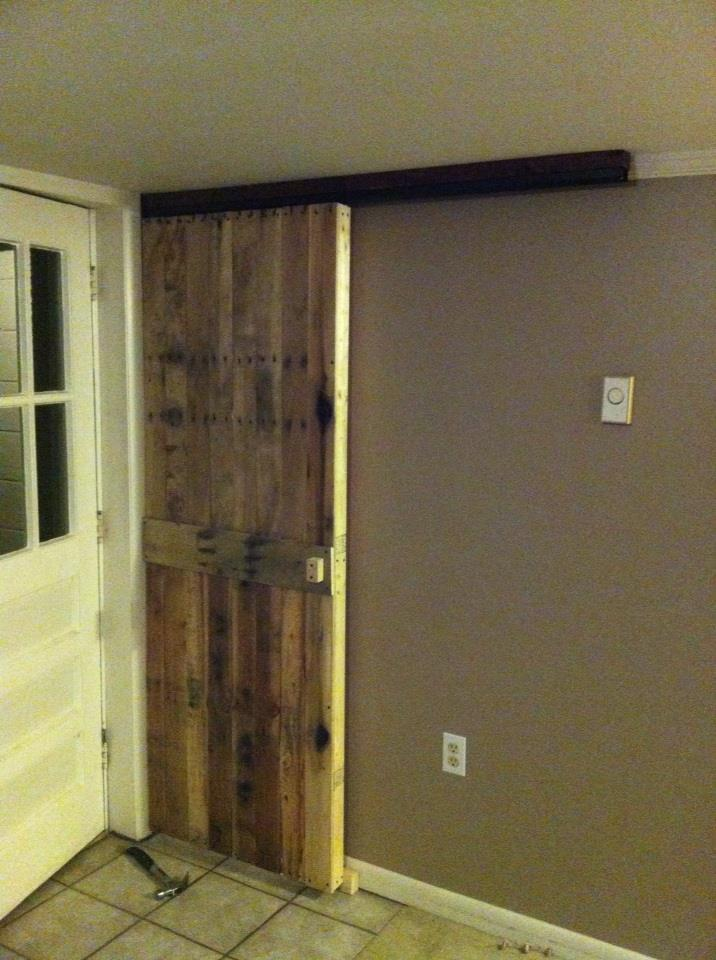 Sliding Barn Door From Reclaimed Pallet Wood