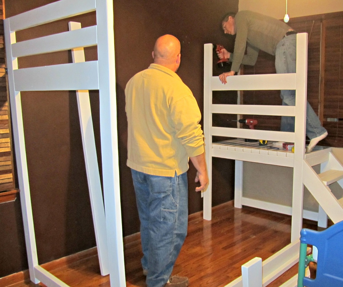 camp loft bed with stairs slide and fort