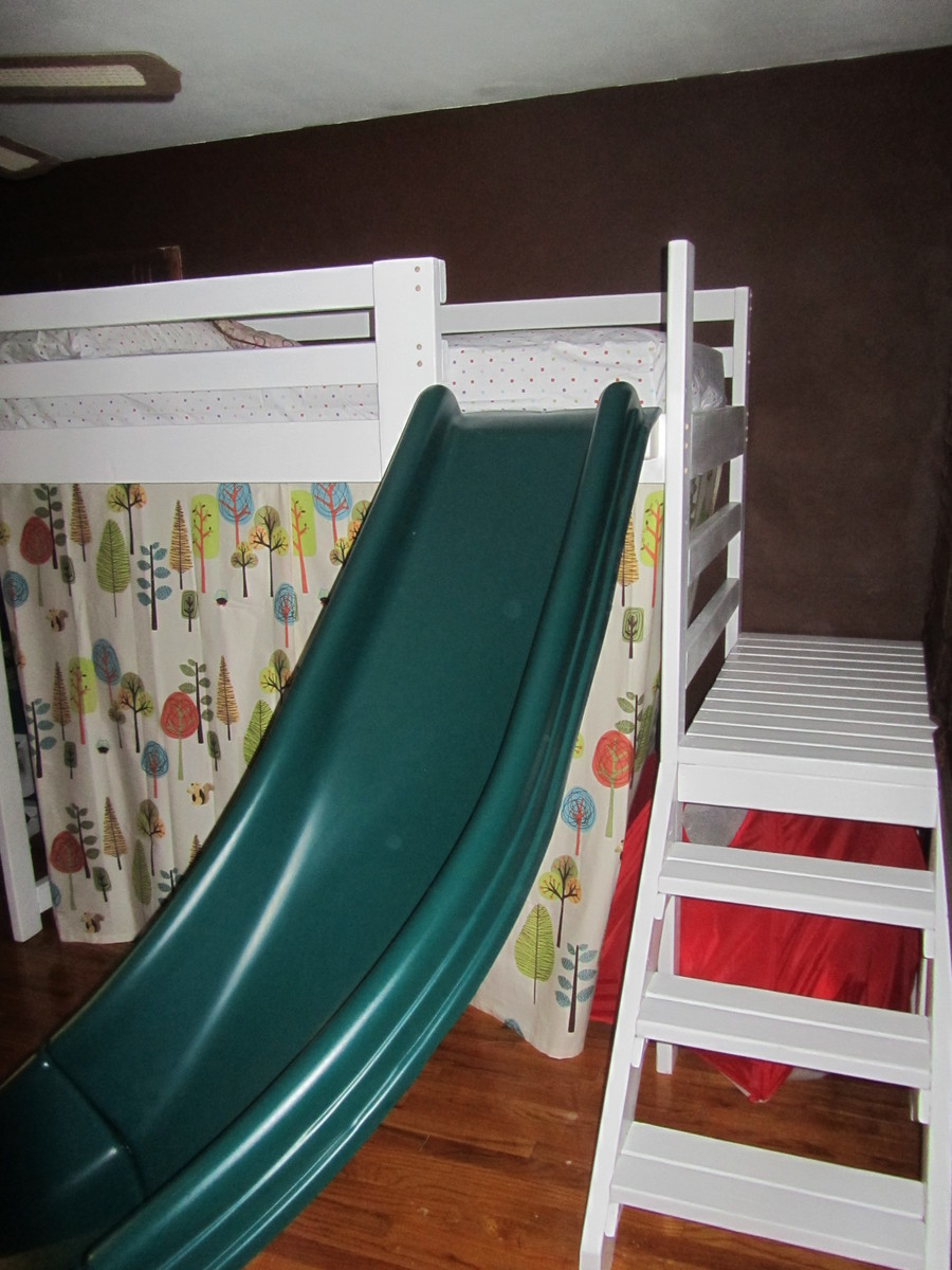 loft with slide. camp loft bed with stairs, slide and fort