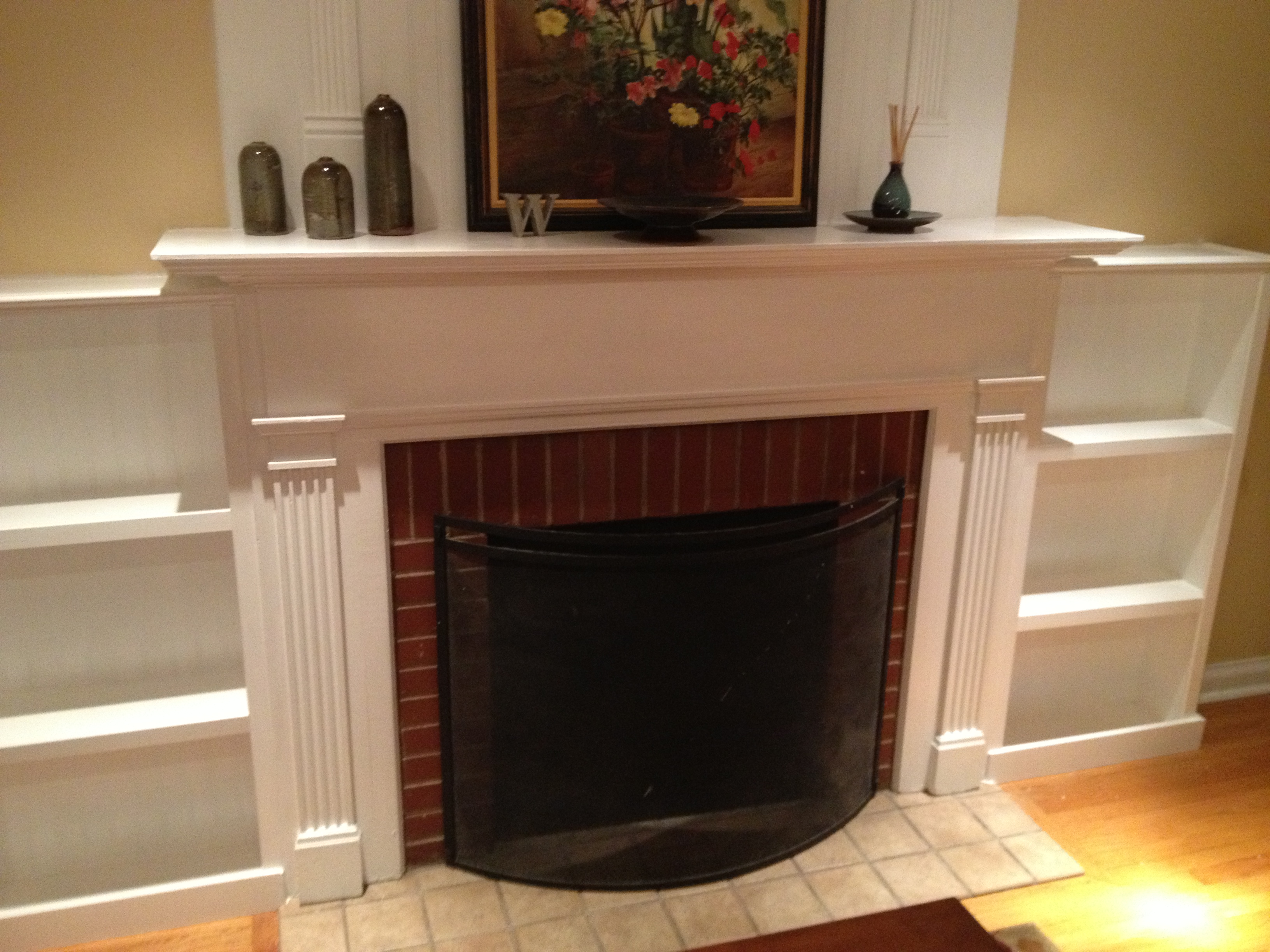 contemporary furniture shelves mantels design with fireplace