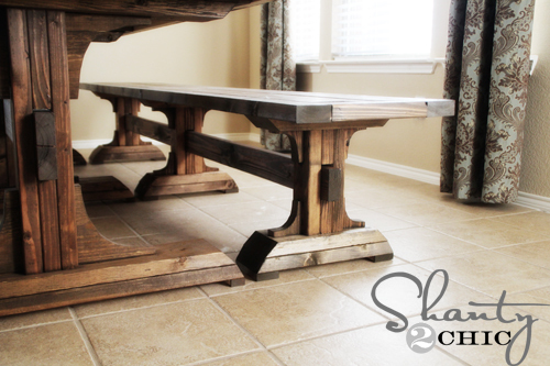 Perfect Triple Pedestal Farmhouse Bench