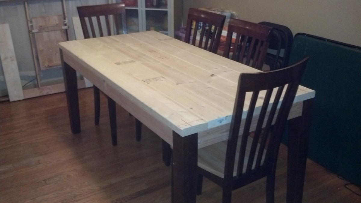 Ana White Modern Farm Table Almost Done Just Need To Stain The Bench And Chairs Diy Projects