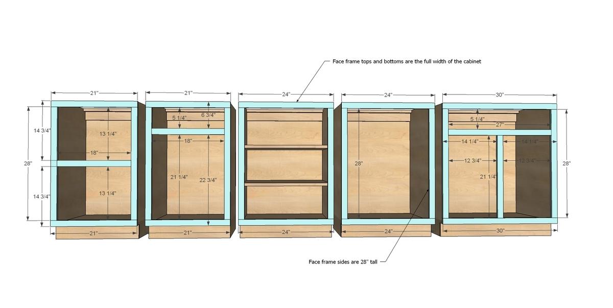 Face Frame Base Kitchen Cabinet Carcass | Ana White