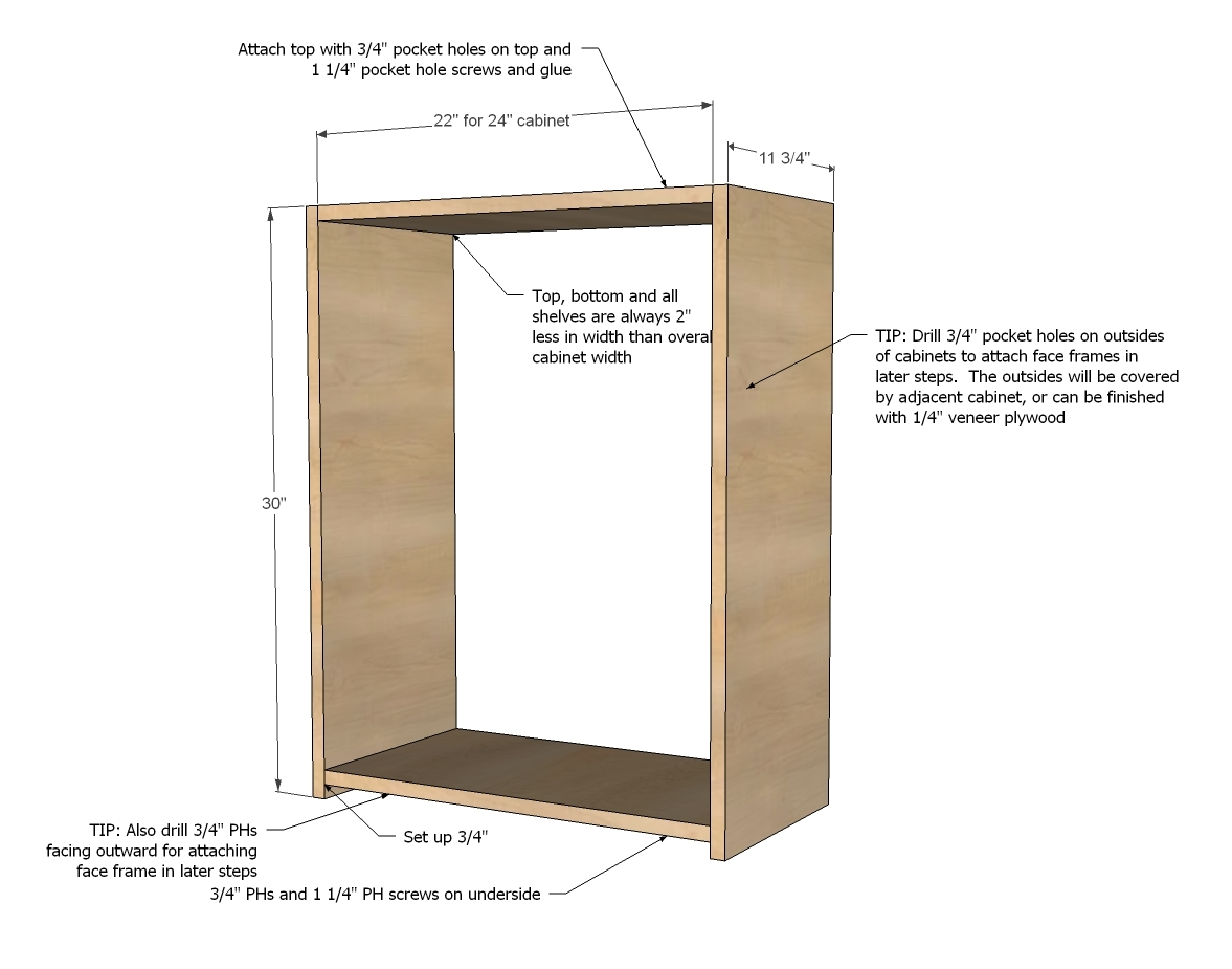 Diy basic cabinet construction plans plans free for Basic kitchen base units