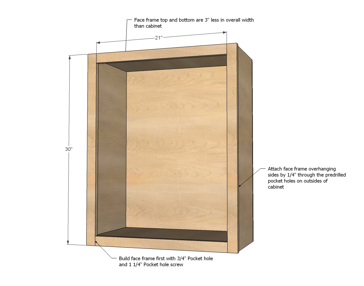 Ana white wall kitchen cabinet basic carcass plan diy for Building kitchen cabinets in place
