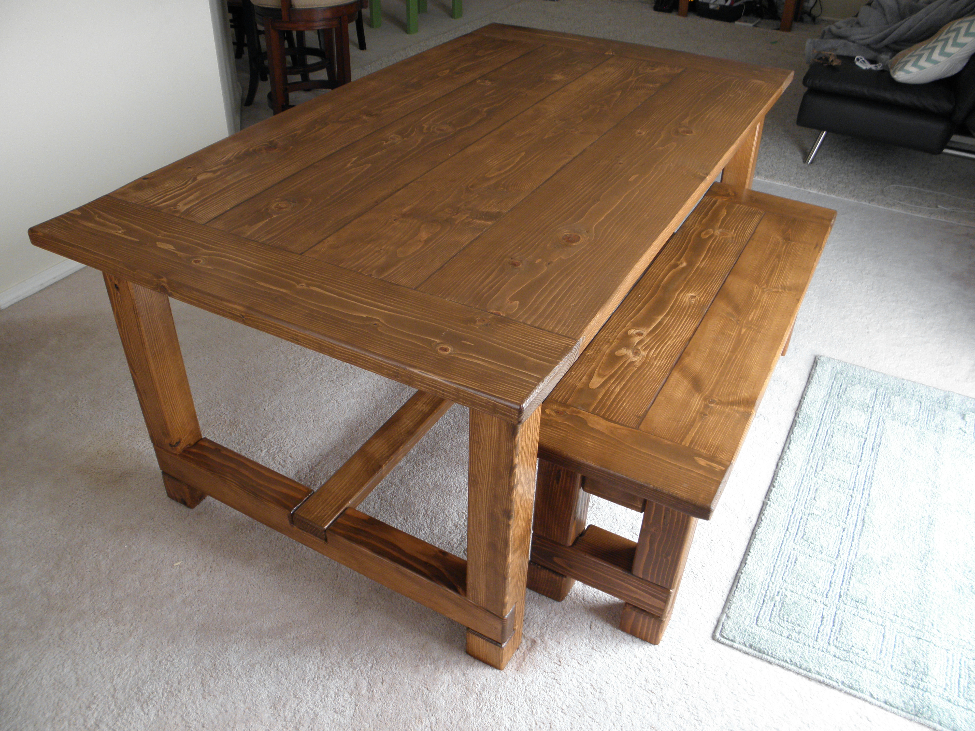 Farmhouse Table, Bench, And Extensions - DIY