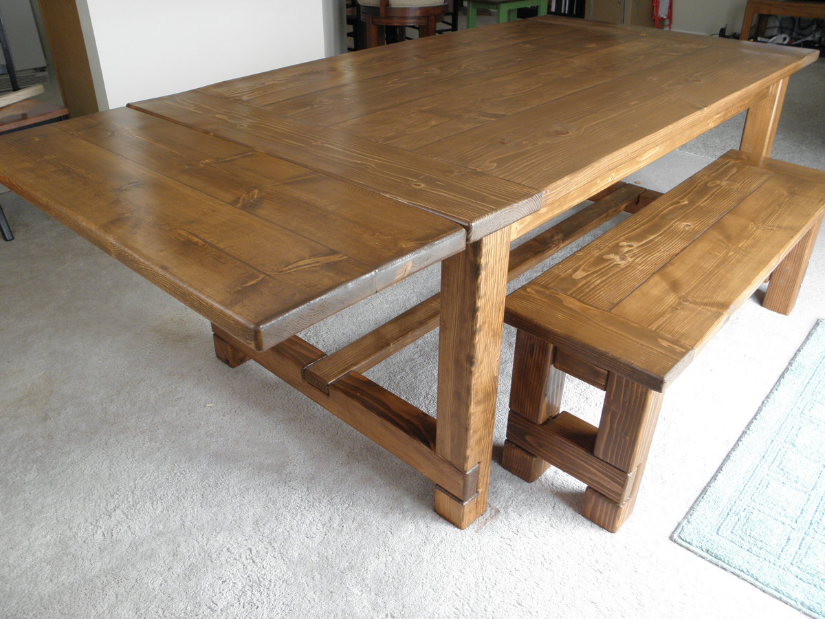 Farmhouse Table, Bench, And Extensions