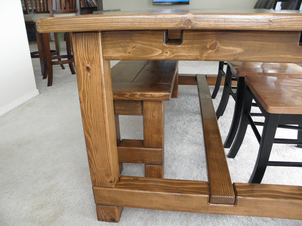 Ana White Farmhouse Table Bench And Extensions Diy