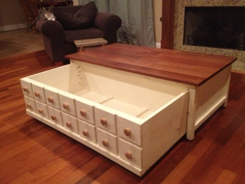 Ana White Apothecary Hidden Storage Coffee Table Diy