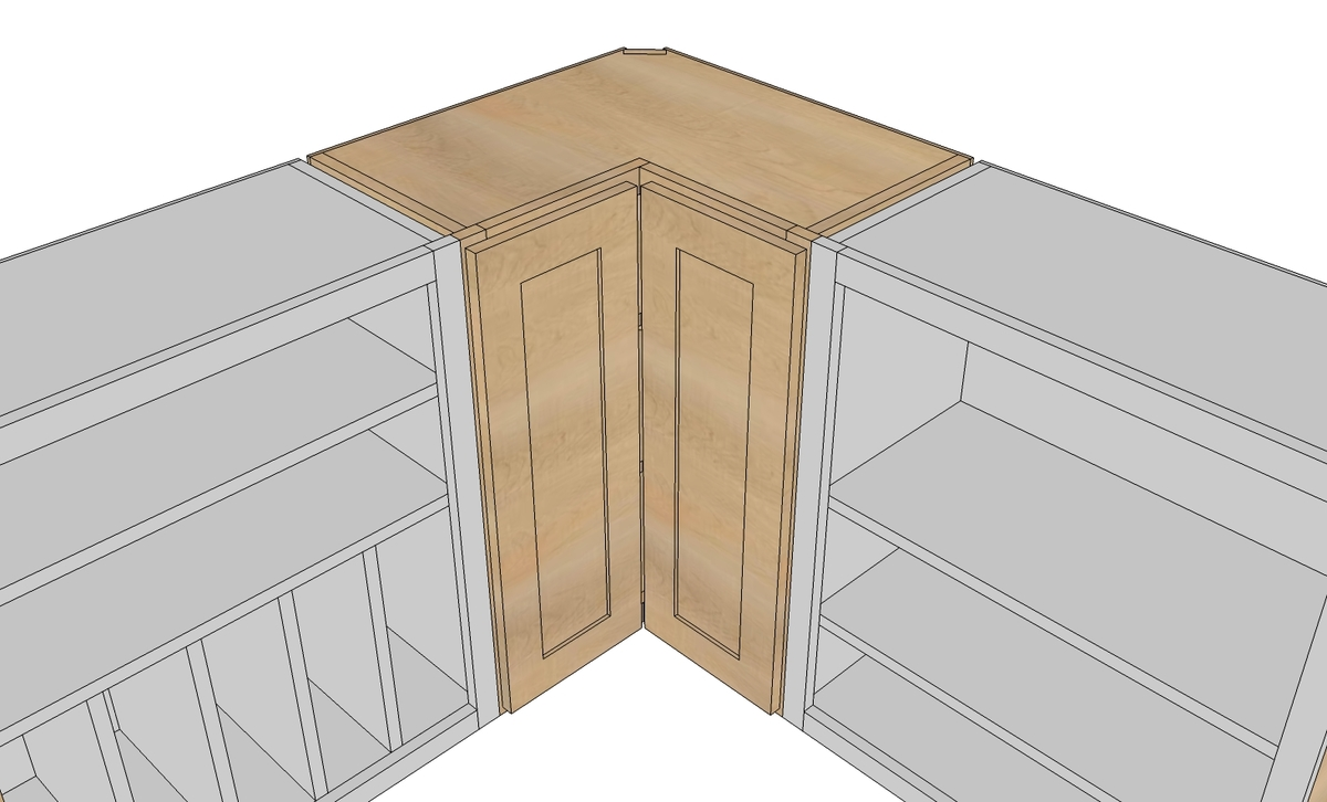 Wall Corner Pie Cut Kitchen Cabinet