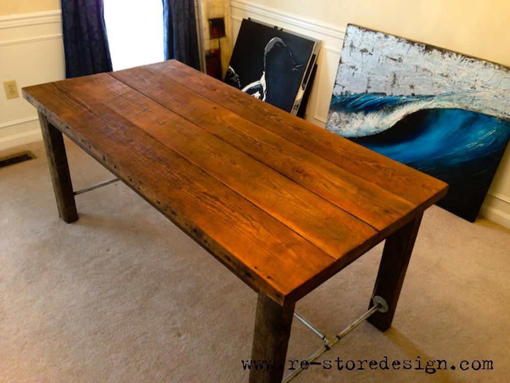 Ana White Reclaimed Wood Farm Table DIY Projects - Salvaged wood farmhouse table