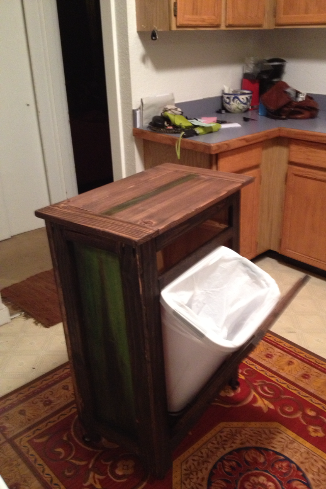 Ana white rolling kitchen island with tilt trashcan and holy cutting board diy projects - Small pull out trash can ...