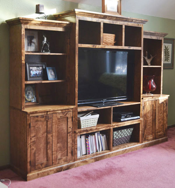 Ana white smith media wall center console diy projects for Media center plans
