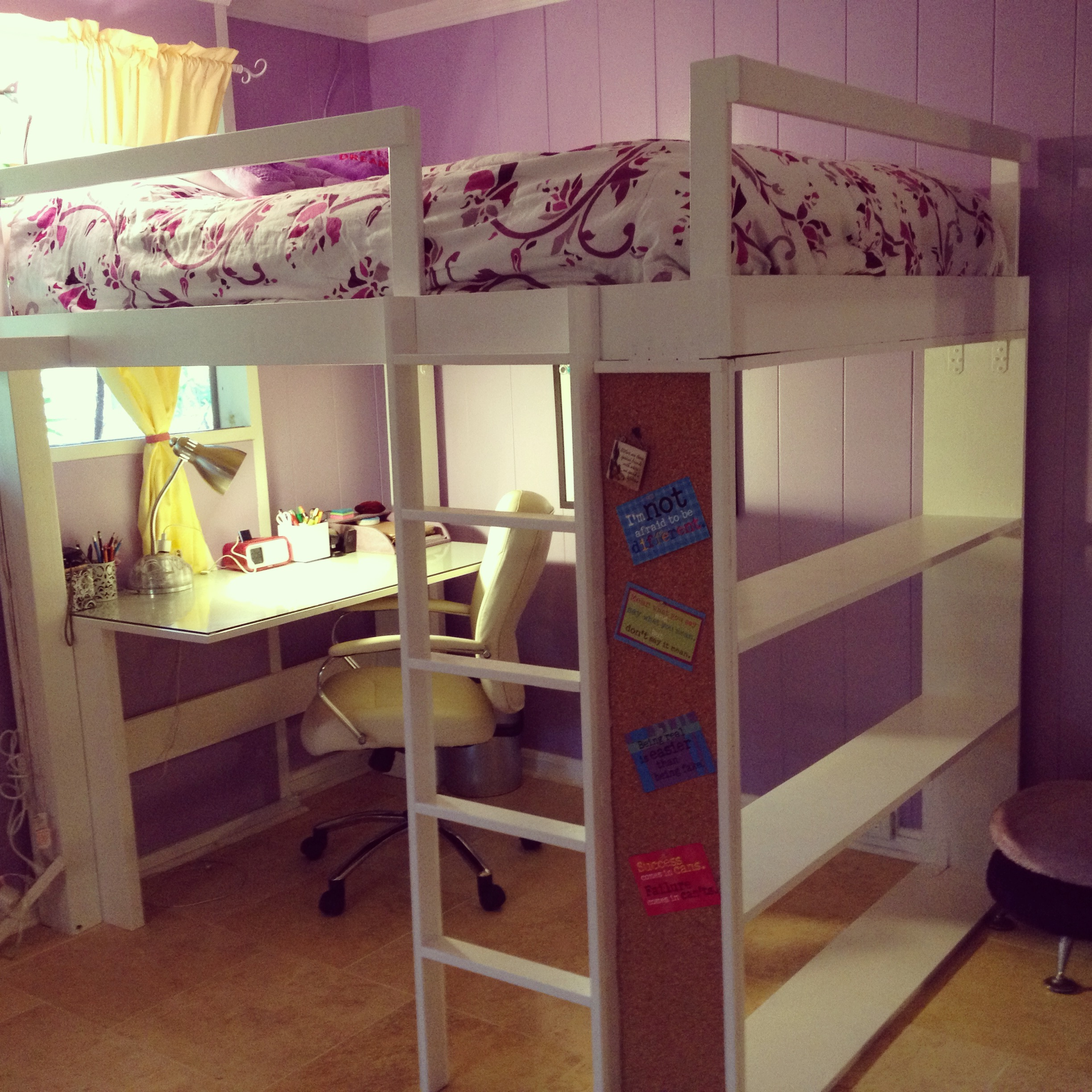 Ana white teen loft bed diy projects for Bunk bed ideas