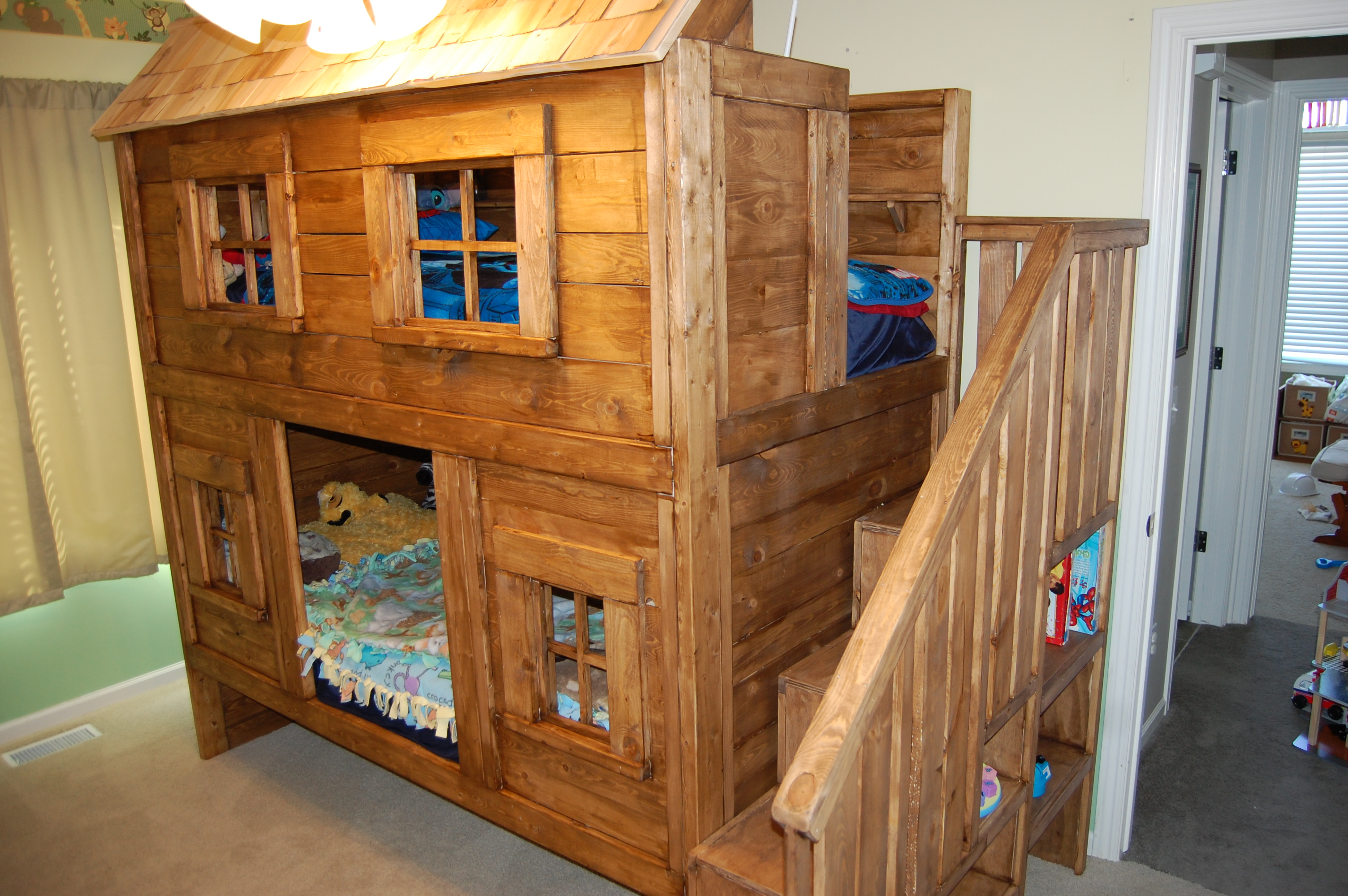 Ana white rustic cabin bunk bed diy projects for Log cabin style bunk beds