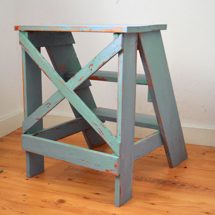 Vintage X Back Step Stool End Table