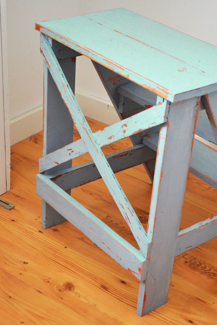 Vintage X Back Step Stool End Table Free Plans To Build