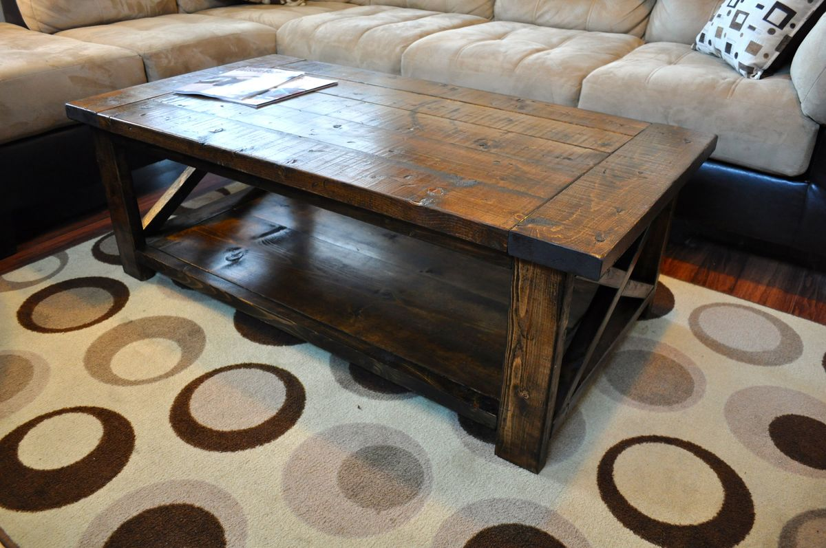 Ana white farmhouse style rustic x coffee table diy projects Farm style coffee tables