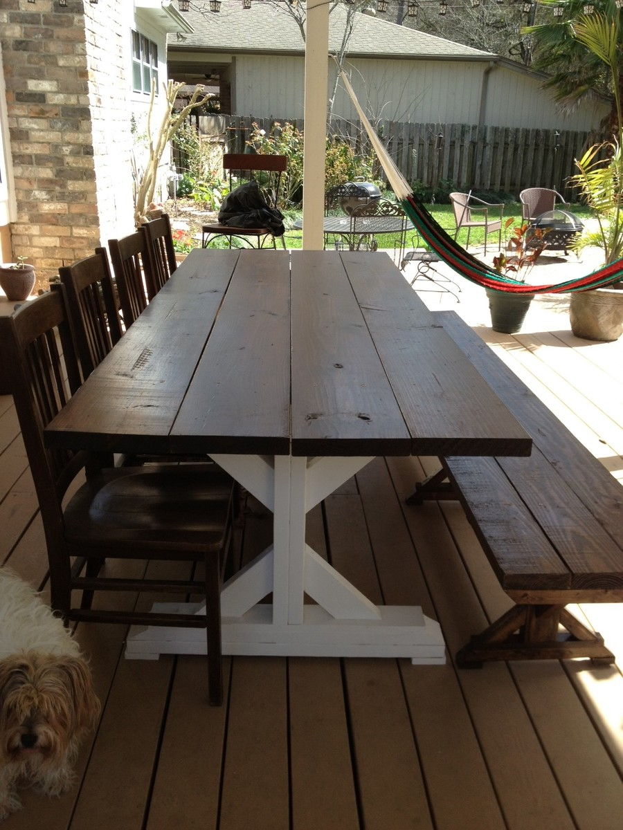 Diy Farmhouse Kitchen Table With Bench