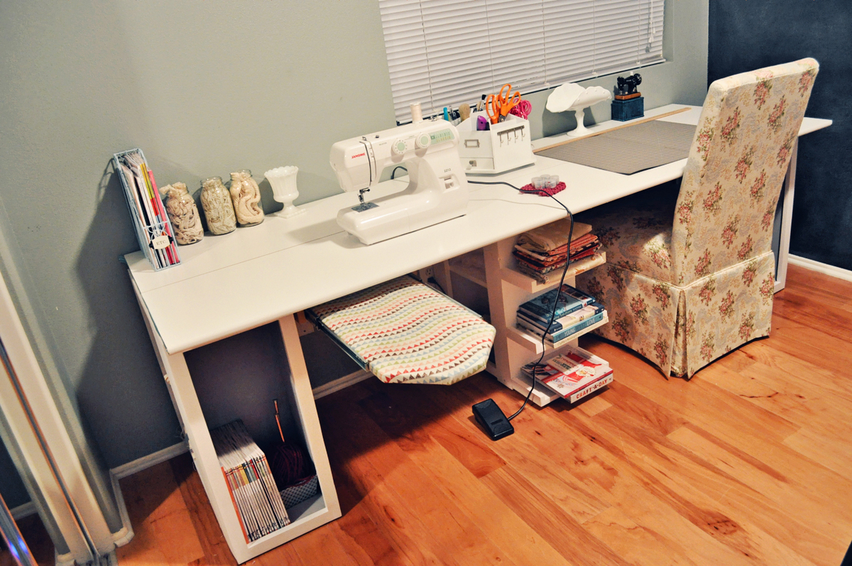 Ana White Modern Craft Table With Pull Out Ironing Table