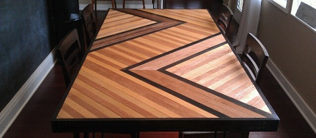 Merveilleux Chevron Pattern Dining Table Top