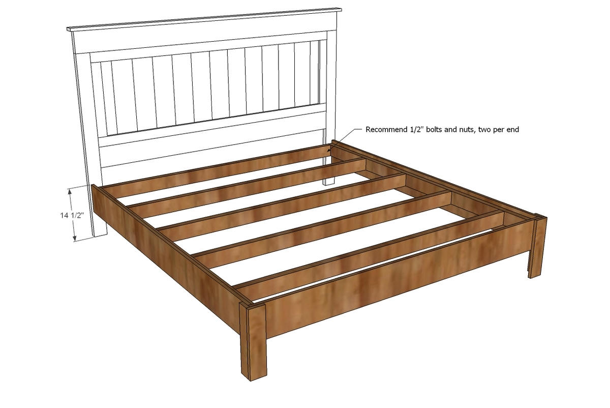 Download king size bed frame building plans plans free - Build your own king size platform bed ...