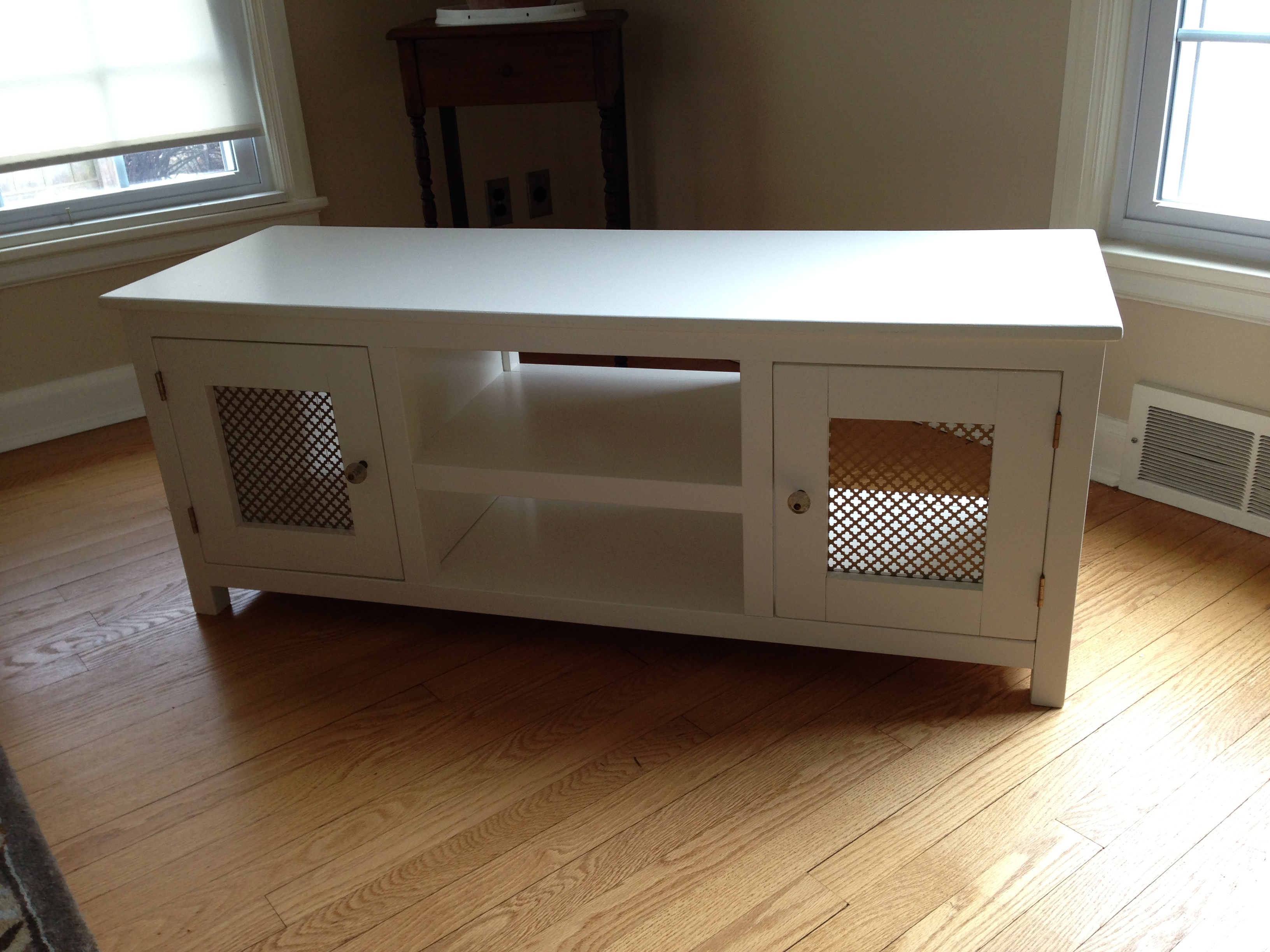 Ana white media cabinet diy projects White media console