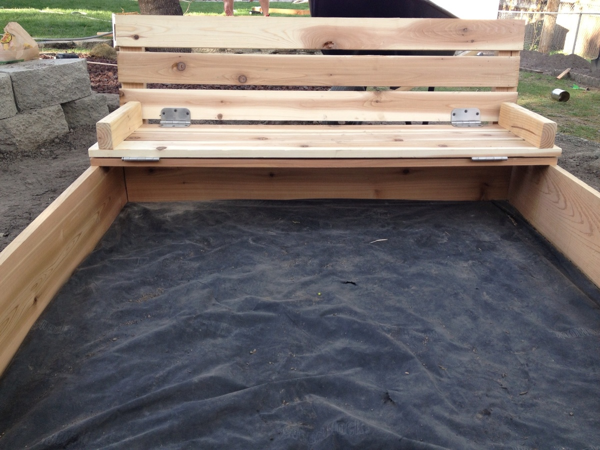Wooden sandbox with cover wooden designs for Sandbox with built in seats plans