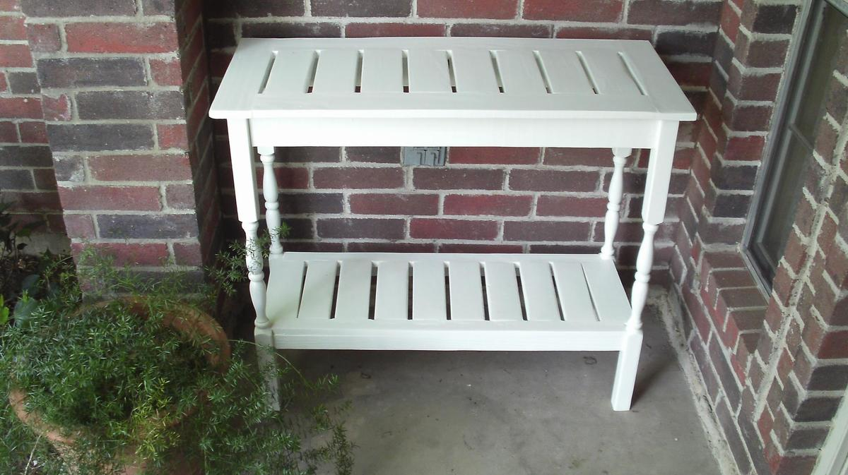 Ana white stair baluster outdoor console table diy for Wood balusters for tables