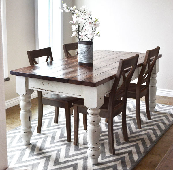 Free Plans To DIY A Farmhouse Table With Store Bought Legs From Ana White
