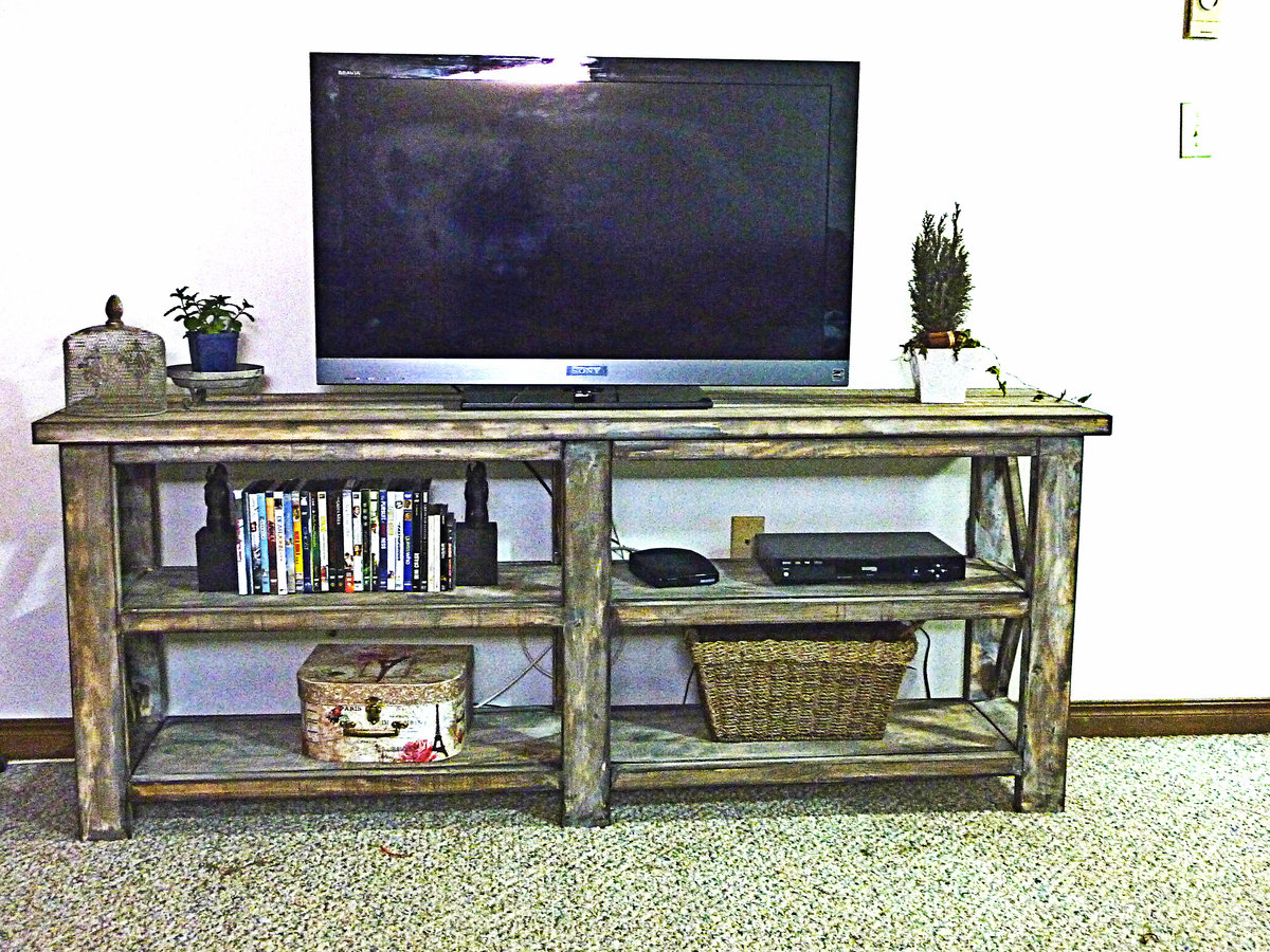 ana white rustic x console diy projects. Black Bedroom Furniture Sets. Home Design Ideas