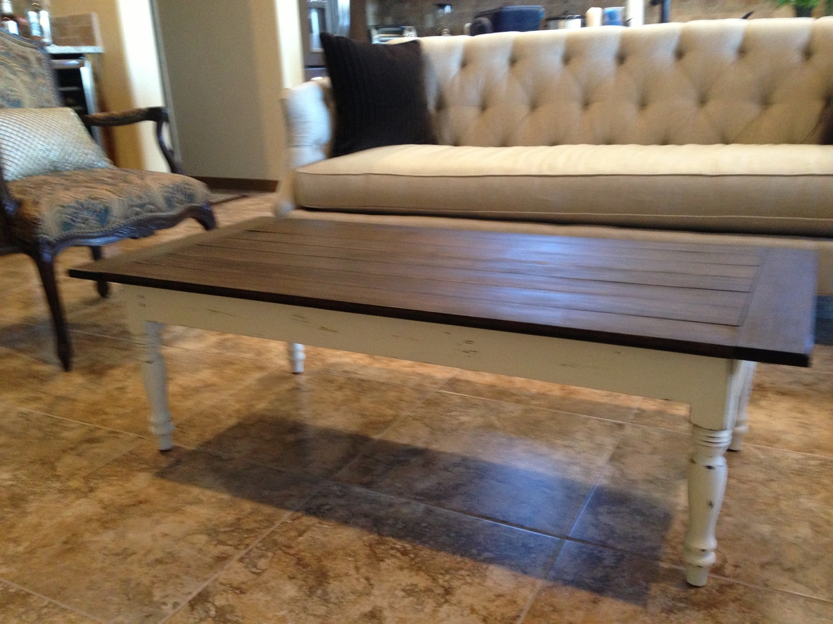 Famous Ana White | Antique white and brown top coffee table - DIY Projects MI36