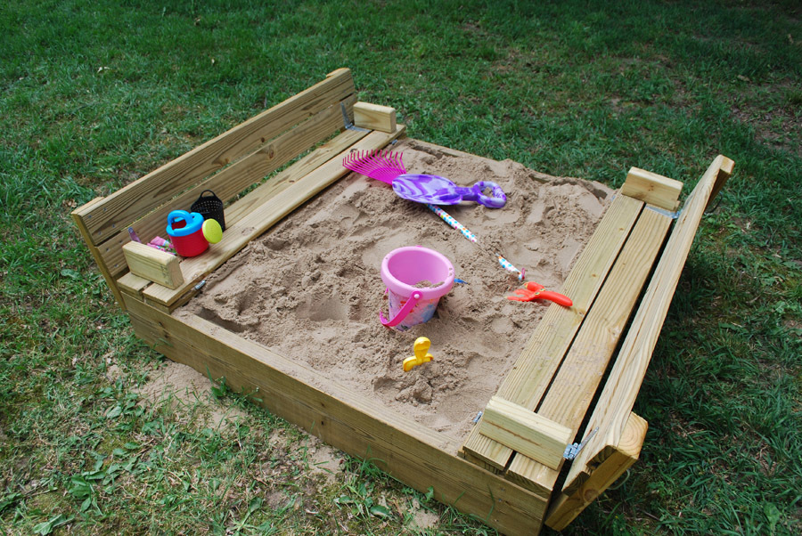 Ana white sandbox with built in hinged benches diy for Sandbox with built in seats plans