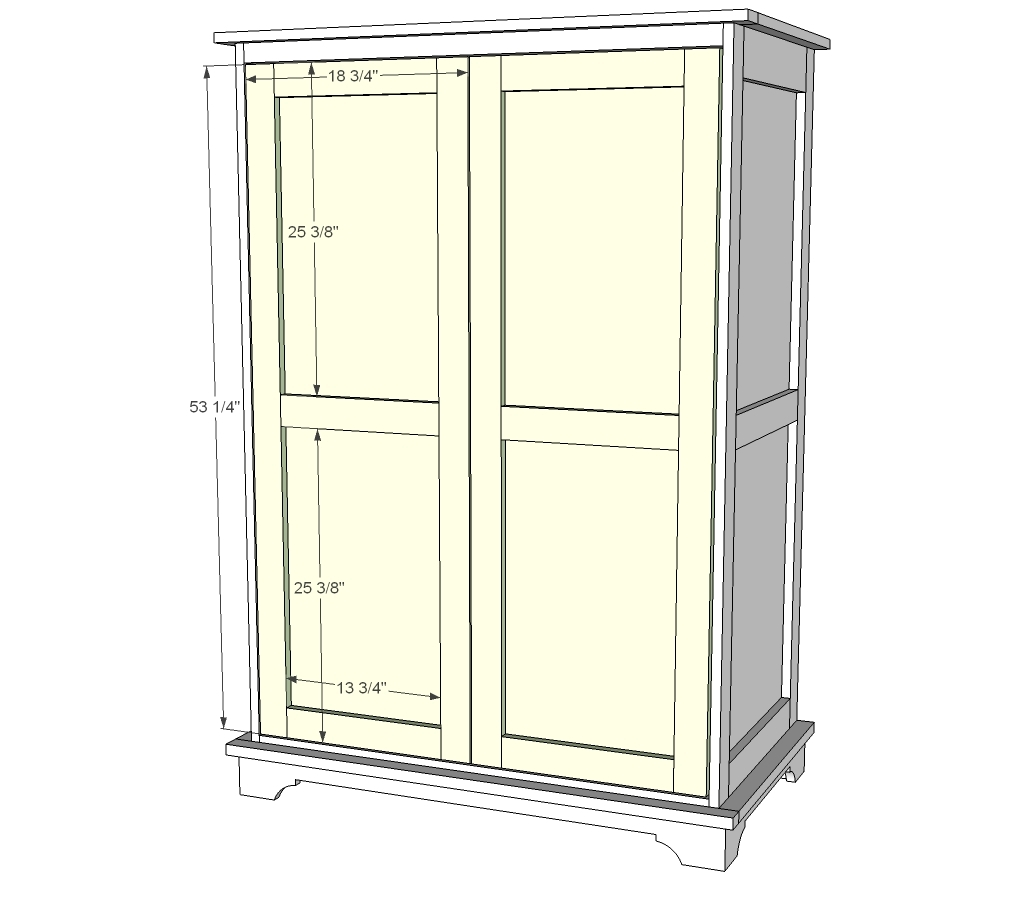 Ana white toy or tv armoire diy projects Wardrobe cabinet design woodworking plans