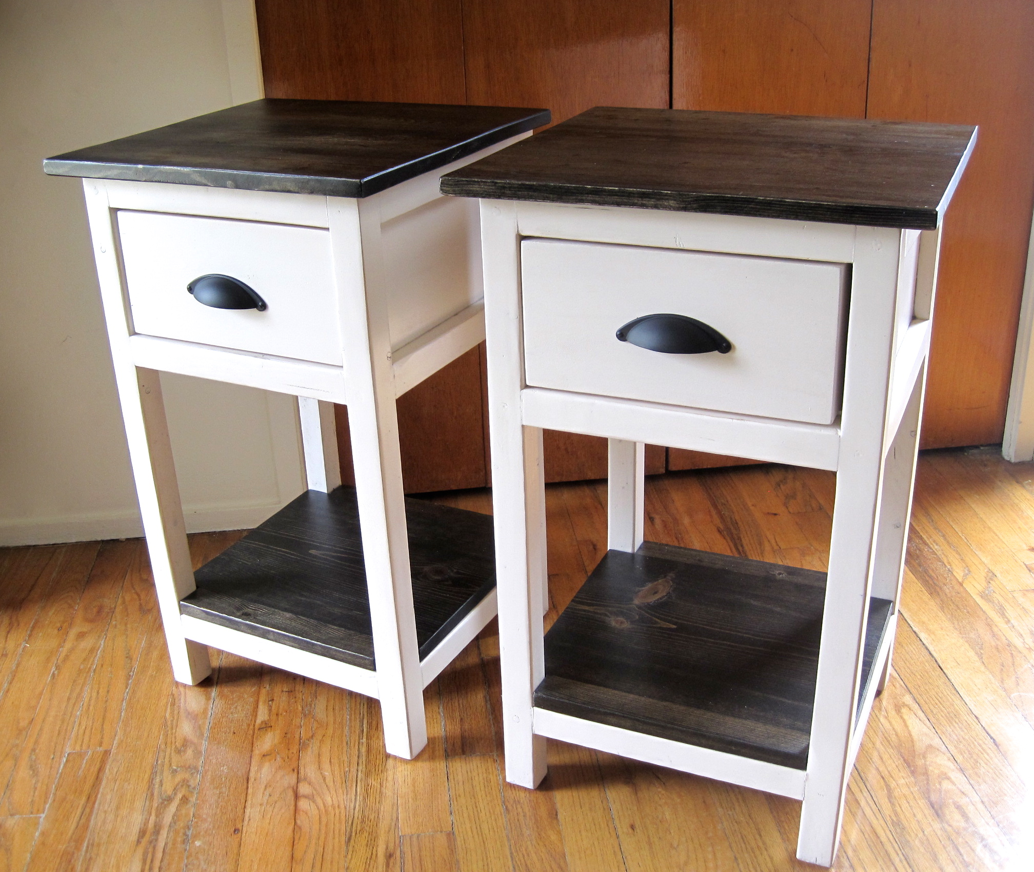 ana white | mini farmhouse bedside table - diy projects Cute White Nightstands