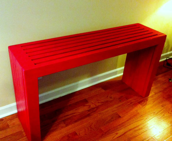 Vertical Console Table ~ Ana white modern vertical slat top console diy projects